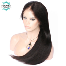 FlowerSeason Pre Plucked 5*4.5 Silk Base Glueless Full Lace Wigs For Black Women Yaki Straight Remy Malaysian Human Hair