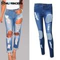 Owlprincess Rolled-Up Hole Design Boyfriend Women Denim Jeans Grunge Ripped Capris Trousers Femme Summer Capris Pencil Pants