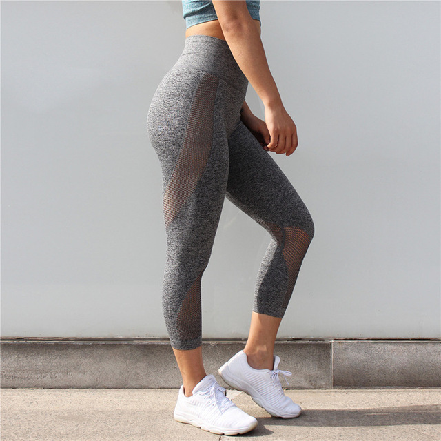 Colorvalue Seamless Mesh Running Sport Tights Women Mention Hip Gym Yoga Capri Pants Tummy Control Fitness Athletic Leggings 4