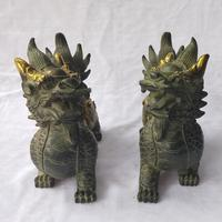 Metal Crafts Home Decoration Sculpture/Art Collection Chinese Old Bronze Gilt 1 Pair Kirin Statue