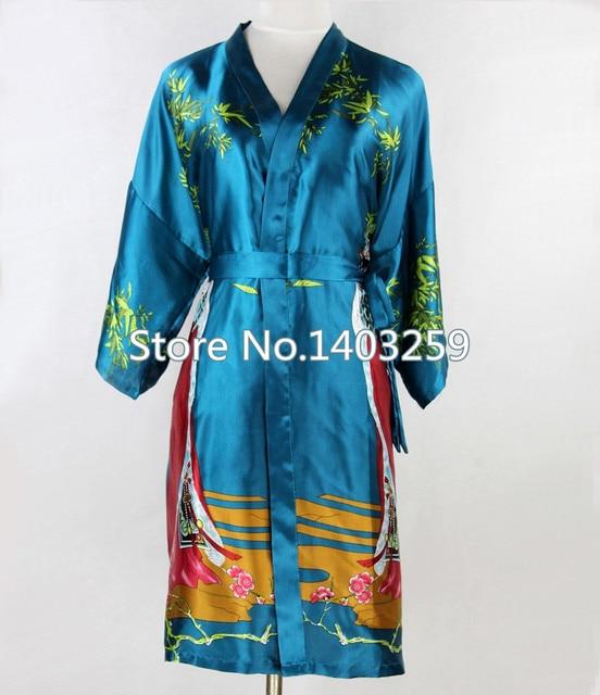 Новое поступление синий китайских женщин короткие шелковый халат традиционный v-образным вырезом пижамы кимоно Pijama размер sml XL XXL XXXL NR047