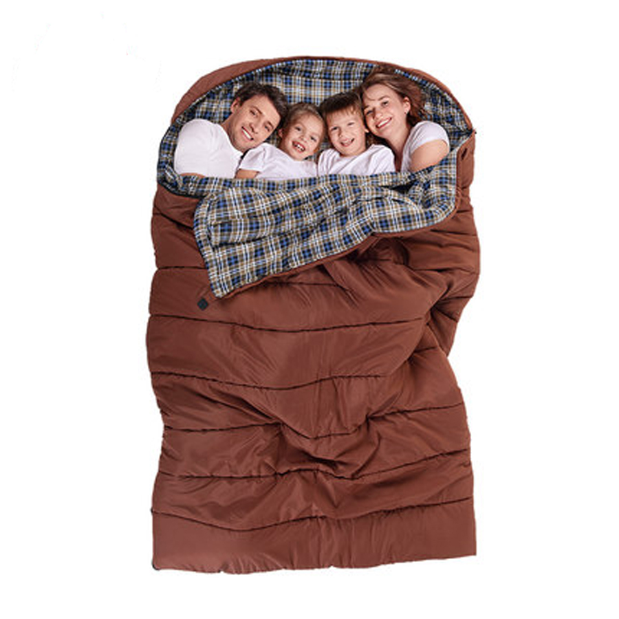 Outdoor Camping Sleeping Bags 2 4 Person Family Travel Envelope Sleeping Bag