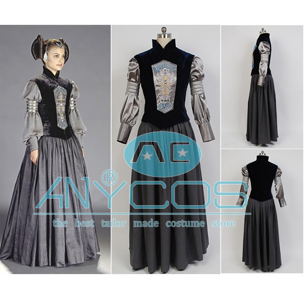Movie Star Wars Padme Naberrie Amidala Cosplay Costume Dress Gown For Women Halloween Pary Costume Full Sets Free Shipping
