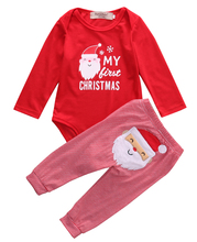 Emmababy 2PCS Set Newborn Toddler Baby Boys Xmas Clothes Romper Pants Santa Claus lucky child Christmas Costume Outfits
