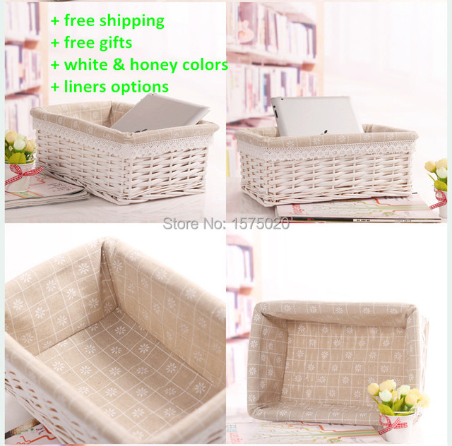 Stylish Large Small White Laundry Storage Baskets Box Hamper Straw Wicker With Liners