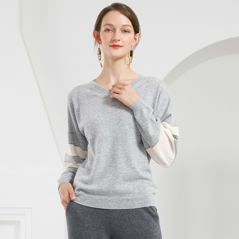 New Arrival Women s Knitted Cashmere Sweater 100 Cashmere Striped Woman Autumn Winter Clothes Korean V