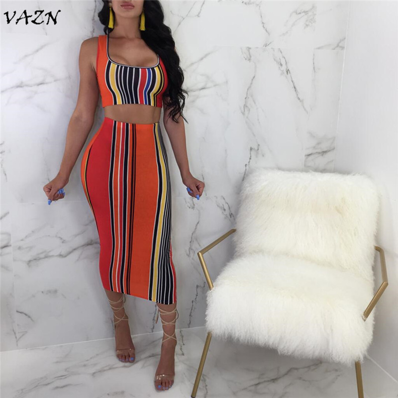 Women's Sets Women's Clothing Vazn Top Quality New Design 2018 Casual Style 2 Pieces Women Set Novelty Striped Top Sleeveless V-neck Sexy Midi Dress A7575l