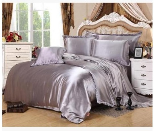Silver Bedding Sets Super King Full Twin Grey Duvet Cover Ed Silk Satin Bed