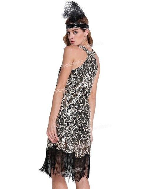edb6320870c PrettyGuide Women 1920s Vintage Sequin Paisley Racer Back Tassels Hem Midi Cocktail  Flapper Dress Plus Size Gatsby Dress Costume free shipping worldwide