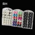 Новый 2016 Мяч Серьги для женщин смешивать цвета 12 париж одна упаковка серьги стержня для дам случайный кулон жемчужные серьги серьги