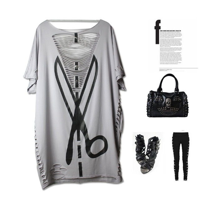 2016 PUNK ROCK new Fashiong  womens summer tops plus size Hollow Out sexy tee t-shirts