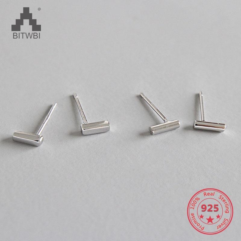 100% S925 Sterling Silber Einfache T Bar Studs Punk Ohrringe Platz Spalte Zylinder Bar Stud Ohr Unisex Unisex Schmuck Schnelle Farbe