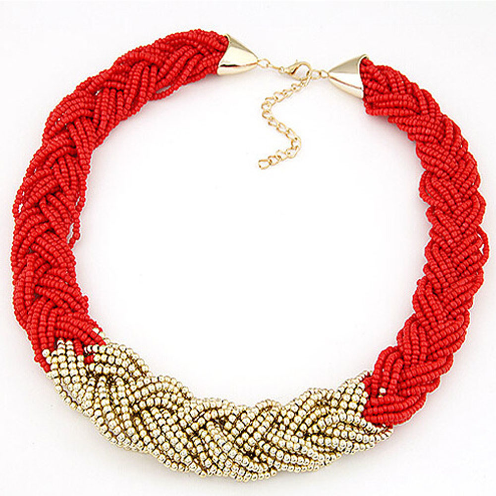 2016 fashion wild golden beads bohemian style multicolr braided bead necklaces for women short chokers wholesale
