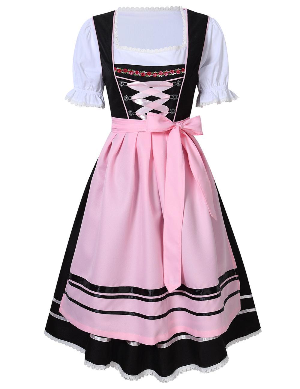 2020 Womens Oktoberfest Beer Girl Costume German Bavarian Traditional Dirndl