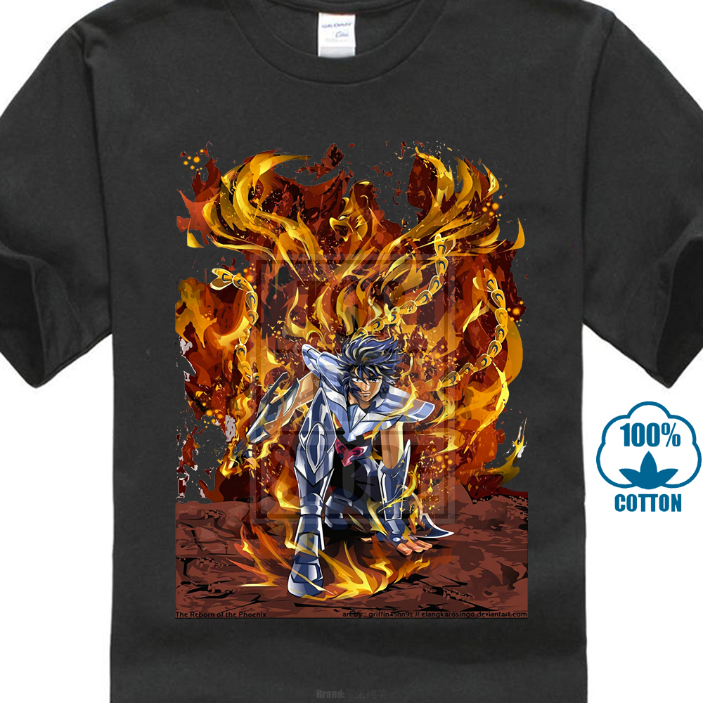 Ikki Phoenix Saint Seiya Classic Anime Manga T Shirt Black Basic Tee