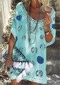 Летнее платье 2019 богемное мини-платье для женщин с v-образным вырезом свободные кружевные винтажные Повседневные платья Пляжная одежда праздничные платья - фото