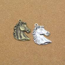 High Quality 3 Pieces/Lot 42mm*29mm Antique Silver Plated Metal Charms Horse Head Charm Penddant For Jewelry Making(China)