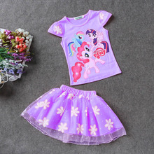 Summer Children Clothing Sets Cartoon Print T-Shirt+Tulle Tutu Skirt 2pcs Suit Kids Casual Sport Suit Girls Clothes Set