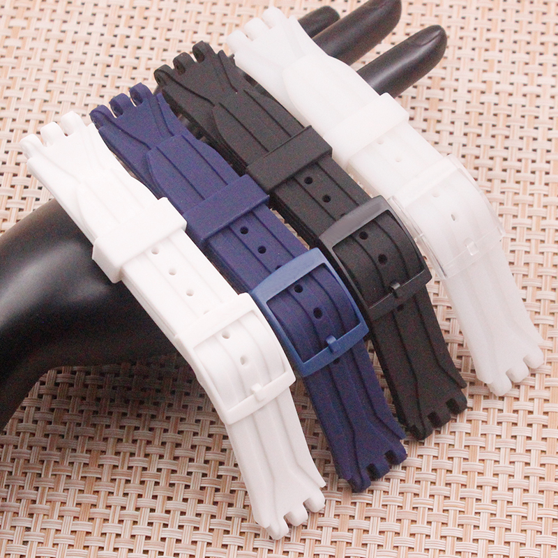 Watch Accessories For Swatch Organic Silicone Strap 18mm For Swatch SUIK400  SUIB400 Men's And Women's Watch Strap