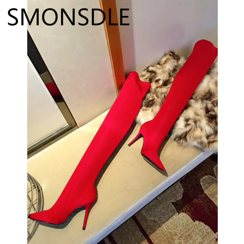 SMONSDLE New Fashion Stretch Fabric Thin High Heel Over the Knee Women Boots Pointed Toe Women Autumn Winter Boots Shoes Woman women stretch flock leather over the knee boots sqaure high heel fashion pointed toe boots autumn winter long boots plus size 43