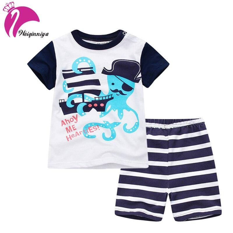 Kids Shorts Suits Casual Sports Suit For Boy Summer Children Cartoon Pattern Tops+Pants 2Pcs Set Toddler Boys Clothing Tracksuit