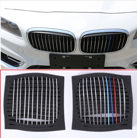 24pcs Car Head Front Grill Grille Decoration Strips Trim For BMW 2 Series 218i F45 F46 2015-2017 Car-styling