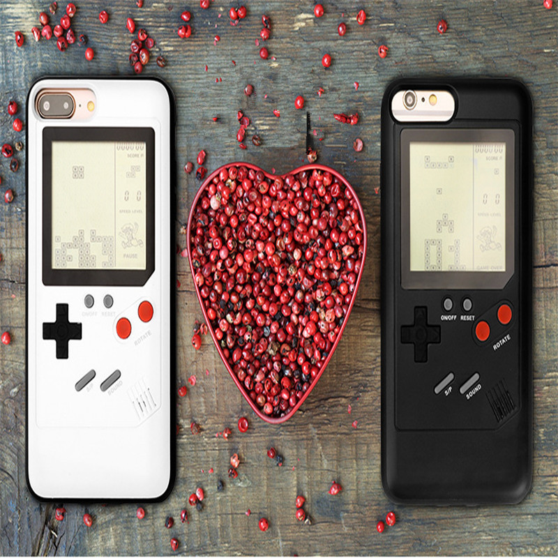 For iPhone X,Gameboy Phone Case Can Play Little Game The Game Of Phone Shell For Tetris Tank War for iPhone 6 6s 7 7plus 8plus