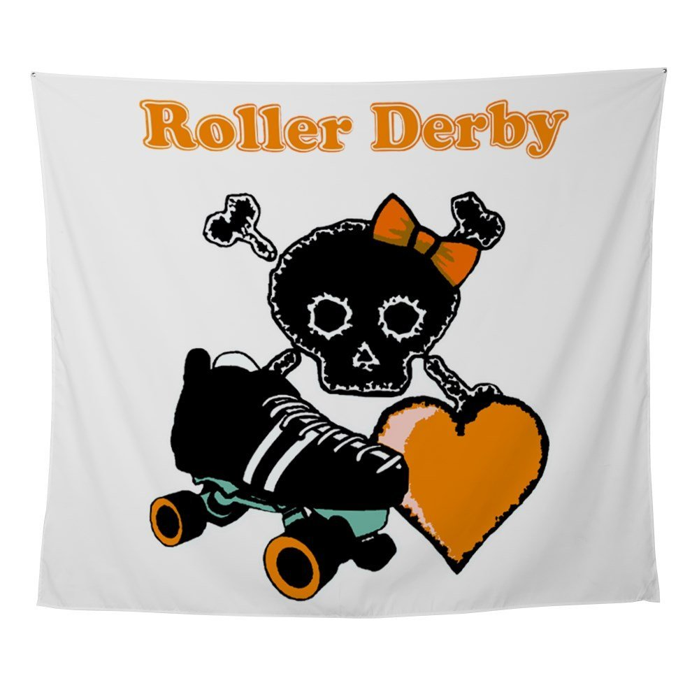 Roller Derby Heart (Orange) Wall Tapestry-in Tapestry from