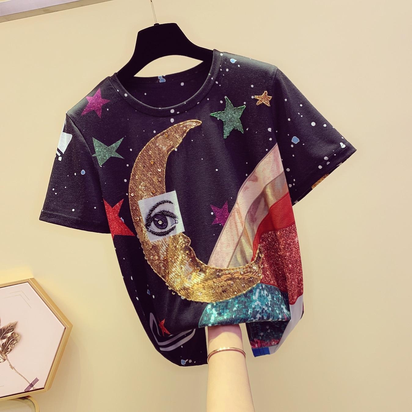 Spring Summer Short Sleeve Tee Shirt 2019 Korean New Round Collar Star Printing Matchwork Patterns T shirt Tshirt Student Tees