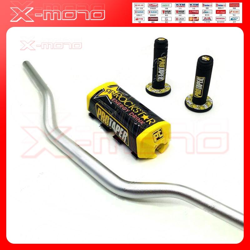 Silver Rockstar Handlebar Pads PRO Taper Handle Grips Fat Bar 1-1/8 Pit Bike Motocross Motorcycle Handlebar 810mm