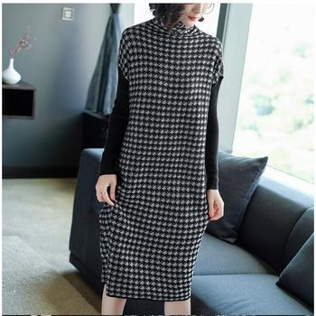 Plus Size Women Black Houndstooth Knitting Stretch Sweater Dress Winter Female Dresses Vestido Clothing Robes 3