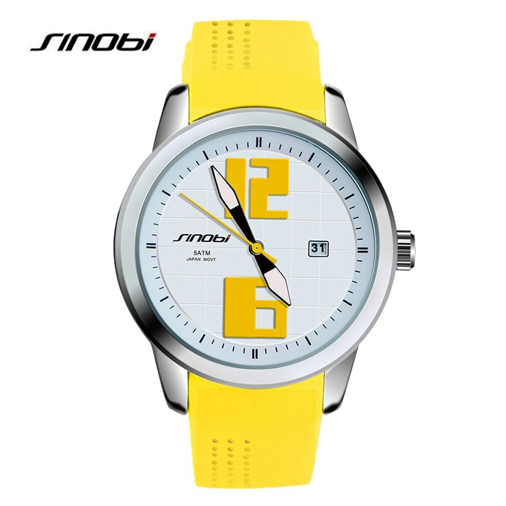 SINOBI 8140 модные спортивные часы Топ Элитный бренд часы мягкий силиконовый ремешок большой руки кварцевые наручные часы для Для мужчин Для жен...