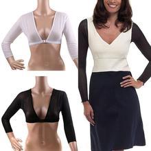 Модная женская Сетчатая футболка с длинным рукавом и пуговицами спереди, облегающий рукав, одна штука, рукав, нарукавник, плечо, черный, белый