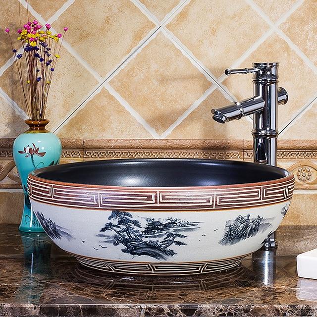 Jingdezhen Hand Maded Keramik Porzellan Kunst Waschbecken