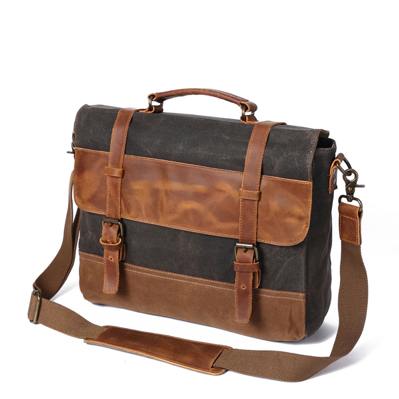 Messenger Bag Men Genuine Leather Canvas Military Handbag