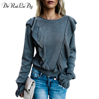 DeRuiLaDy Ruffled Trim Flare Long Sleeve Sweater Women Soft Quality Sweater Black Pullovers Female Stylish Bottom