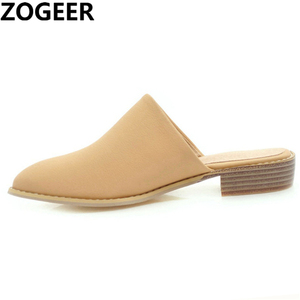 Image 1 - Plus Size 48 New Shallow Slippers Women Elegant Casual Flat Sandals Brand Designer Summer Mules Shoes Woman Black