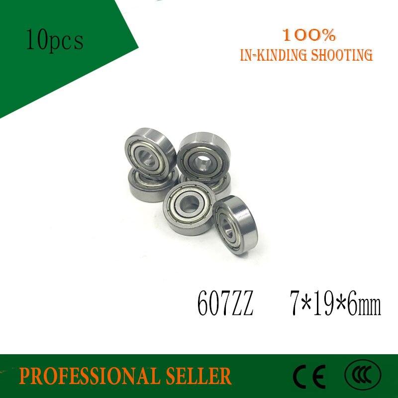 Free Shipping 10pcs 607ZZ  ABEC-1 607-2Z Miniture Ball Bearing 7*19*6MM 607 ZZ Deep Groove Ball Bearings