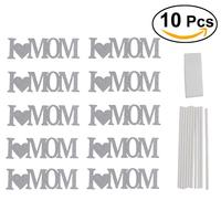 10pcs I Love Mom Cake Topper Table Decoration Even Party Supplies Wedding Cake Decorations Mother'S Day Gift (Silver)