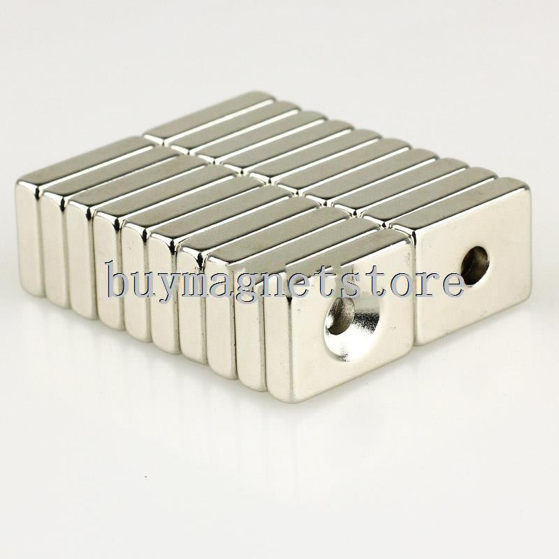 10pcs Strong Block N35 Magnets 20 x 15 * 5 mm Counter Sunk Hole 5 mm R.E Neodymium magnets