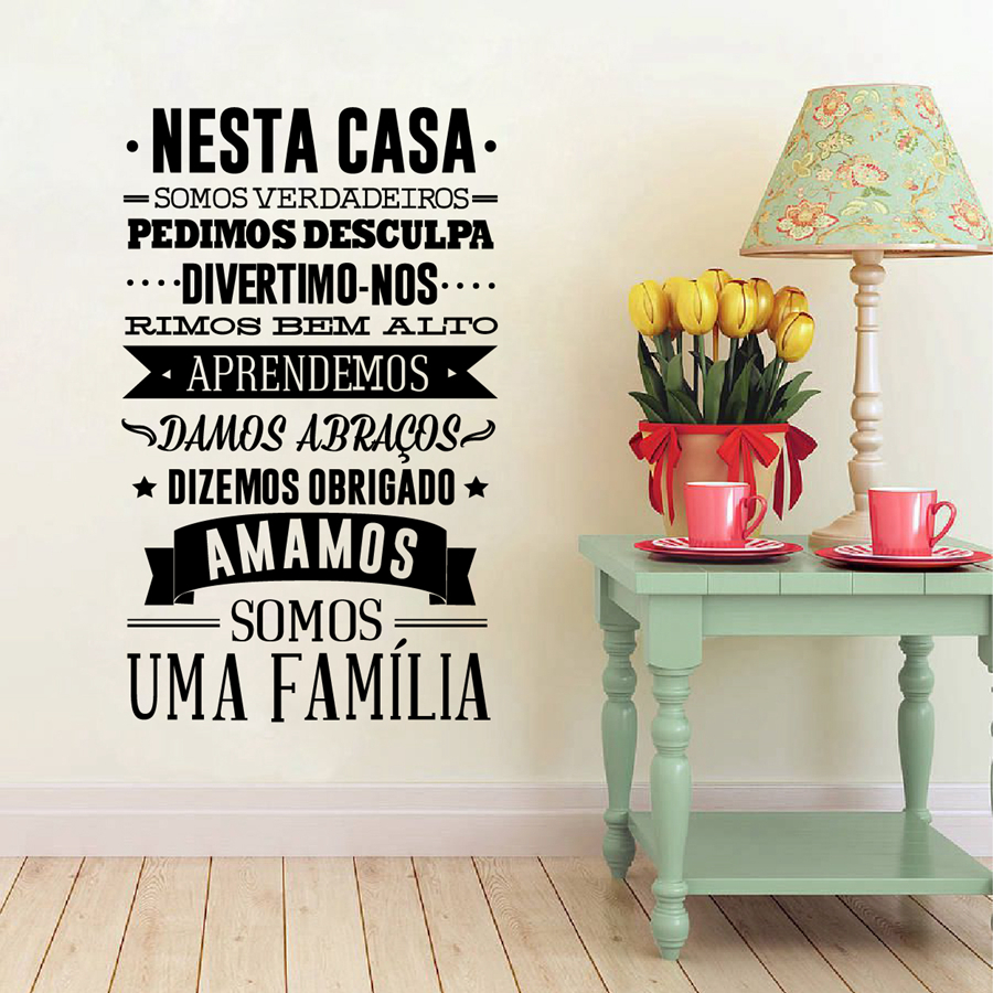 Portuguese house rules wall sticker home decoration for Stickers decorativos