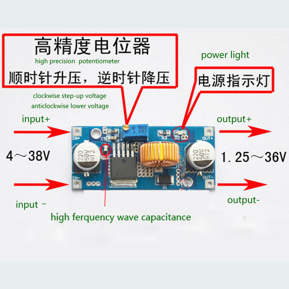 Dc To 4v 38v 125v 36v Buck Module Down Power Supply Wiring Diagram 24v 12v 9v 5v New5a Digital Control Free Shipping In Voltage Regulators Stabilizers