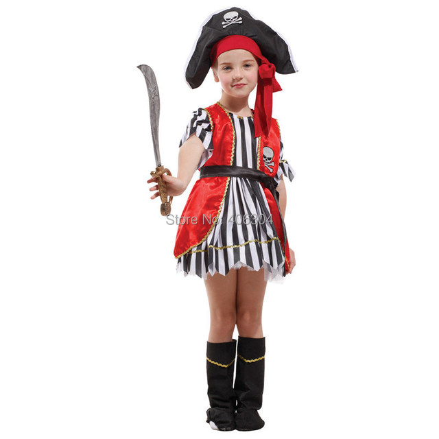 Free shippinghalloween party dress up costume children girl pirate dress costume full set hat  sc 1 st  AliExpress.com & Free shippinghalloween party dress up costume children girl pirate ...