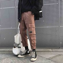 Outdoor 2019 spring autumn cargo hip hop multi pocket overalls cotton students HongKong design young men pants trousers
