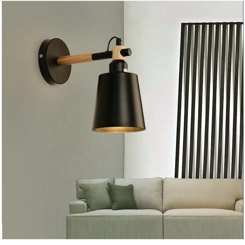 Nordic Wood Wall Lamps Modern Wall Mounted Luminaire Iron
