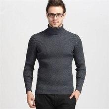 Winter Thick Warm 100% Cashmere Sweater Men Turtleneck Men Mens Sweaters Slim Fit Pullover Men Knitwear Double collar