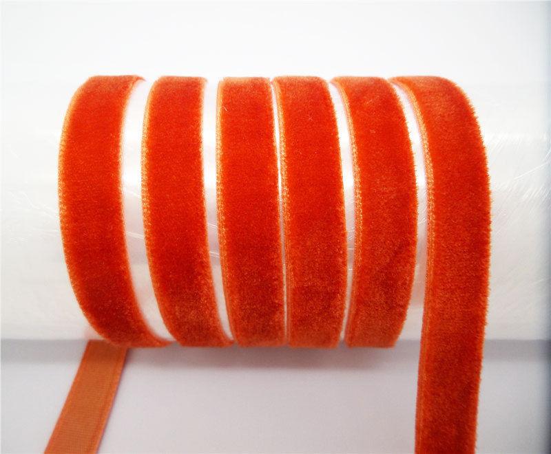 """DIY 5 ярдов 3/"""" 10 мм мягкая удобная бархатная лента много цветов на выбор - Цвет: orange"""