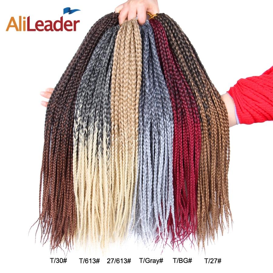 Alileader 22 100strands/pack Caixa de Extensões de Cabelo Ombre Cabelo Sintético Da Trança Trança Tranças De Crochê Para As Mulheres 12 16 20 24 30 Polegada