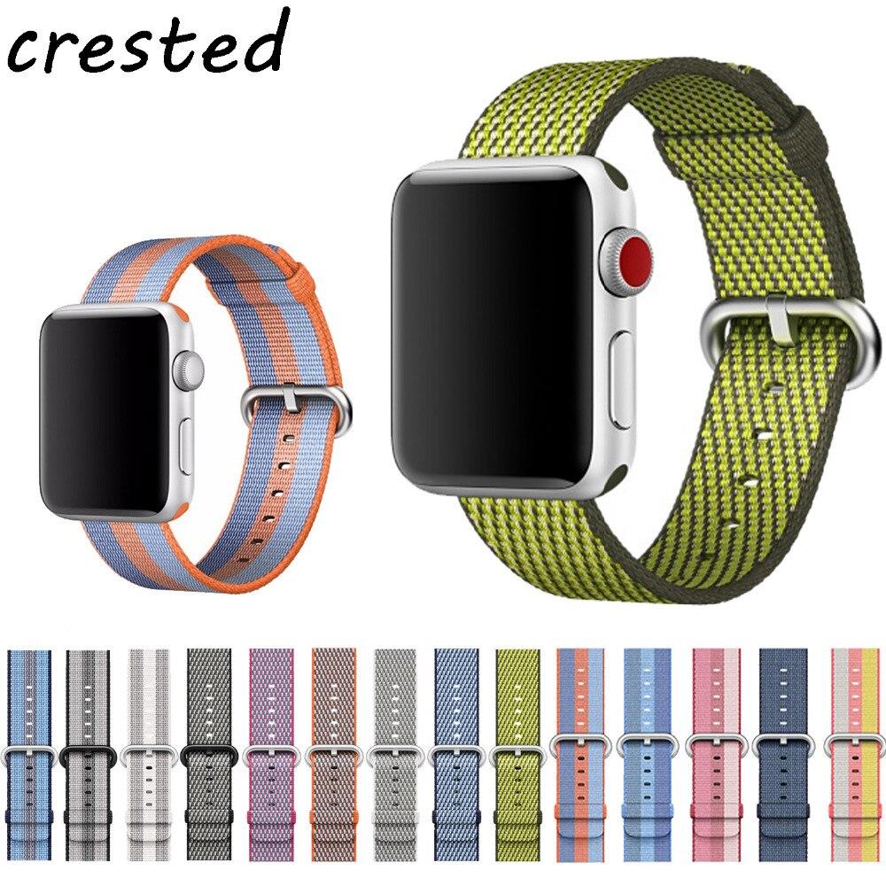 CRESTED Sport woven nylon band apple uhr 3 42mm 38mm handgelenk armband gürtel stoff-wie nylon band für iwatch 3/2/1