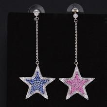 LARRAURI Luxury Geometric Micro Pave Cubic Zirconia Earrings CZ Stones Dangle Drop Star Earrings Women Bijoux Prom Party Jewelry